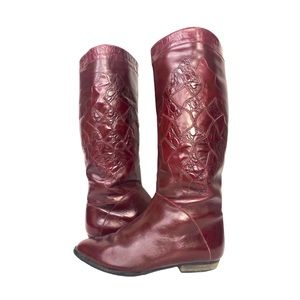 Vintage 80s Riding Boots Burgundy Embossed Leather